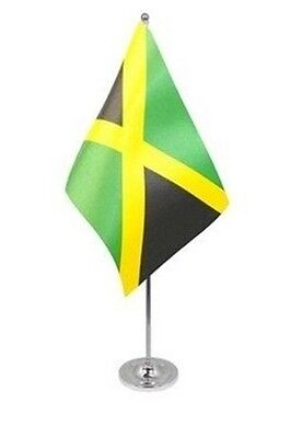 "JAMAICA DELUXE SATIN TABLE FLAG 9""X6"" CHROME Stands 15"" JAMAICAN CARIBBEAN"