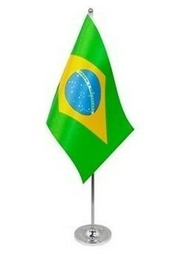 "BRAZIL DELUXE SATIN TABLE FLAG 9""X6"" CHROME POLE & BASE Stands 15"" BRAZILIAN"