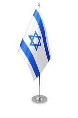 "ISRAEL DELUXE SATIN TABLE FLAG 9""X6"" CHROME POLE & BASE Stands 15"" ISRAELI"