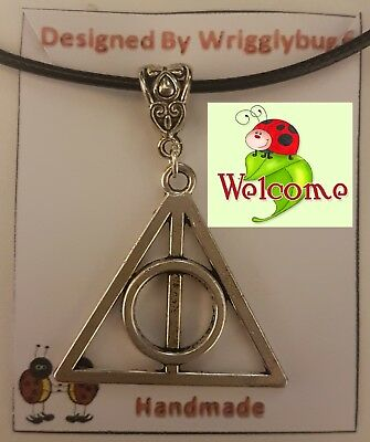 Harry Potter Deathly Hallows Silver Pendant with Black Skin Necklace AUS SELL 2W