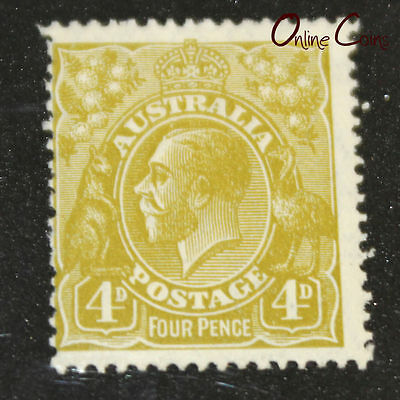 "1913-1936 King George V 4d Olive ""Offset"" Variation - MLH"