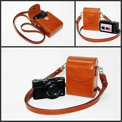 Brown camera leather case bag pouch to Fujifilm XP90 XQ2 XP70 XP80 New