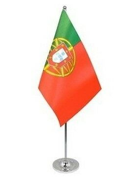 """PORTUGAL DELUXE SATIN TABLE FLAG 9""""X6"""" CHROME POLE & BASE Stands 15"""" PORTUGUESE"""