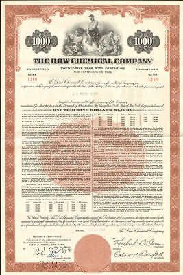Dow Chemical Company   bond certificate stock share