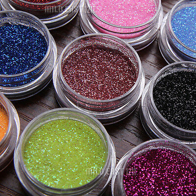 18 Color Nail Art Glitter Powder Dust Decoration kit For Acrylic Tips UV Gel DIY
