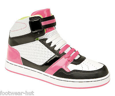 Womens Girls Ankle High Top Trainers Boots White Pink Black Size 3 4 5 6 7 8 New