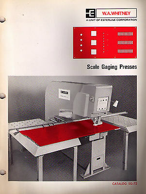 W.A. Whitney Scale Gaging Presses Catalog