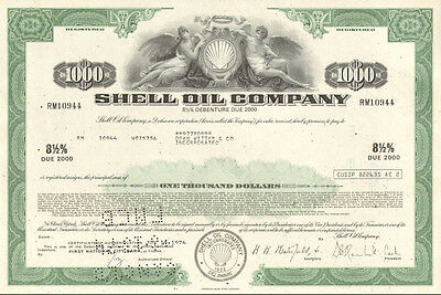 Shell Oil Company   $1,000 bond certificate share oil & gas scripophily