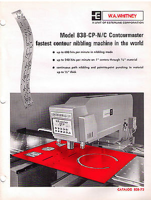 W.A. Whitney 838-CP-N/C Contourmaster Catalog