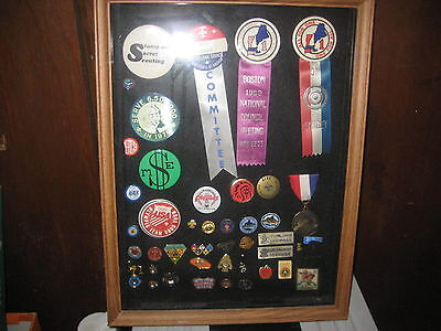 Boy Scout Button & Pin Display 1960s to 2000s--NESA, NOAC, Neptune, Sea Scout