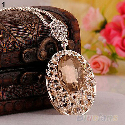 Retro Rose Gold plated crystal Rhinestone Sweater chain pendant Necklace