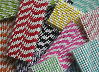 25 x Striped Paper Party Drinking Straws - CHOOSE YOUR COLOUR