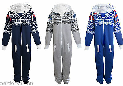 Unisex Mens Plain Aztec Print Onsie Zip Up All In One Hooded Jumpsuit Size S 3Xl