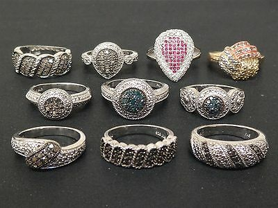 BRAND NEW Wholesale Jewelry Lot of 10 .925 Sterling Silver Diamond Rings # RD102
