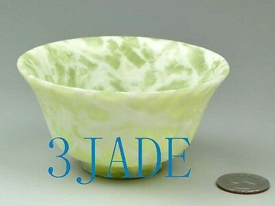 "3 7/8"" Hand Carved Natural Cloudy Xiu Jade / Serpentine Bowl / Cup"