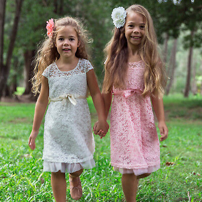 NEW Flower Girl Dress Princess Vintage Special Occasion Party Wedding Lace Rosey