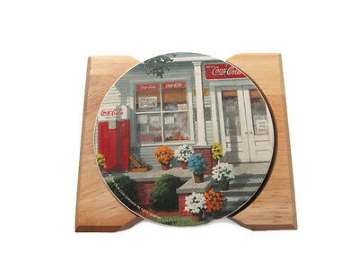 4 Coca Cola Ceramic Coasters in Wooden Case - OFFICIAL PRODUCT