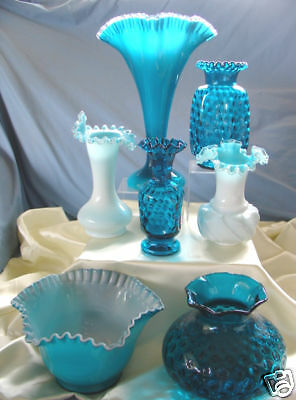 "MNT+PERF~VINTAGE~50s""FENTON GLASS""SILVER JAMESTOWN BLUE OVERLAY""13""FAN""VASE""ONLY"