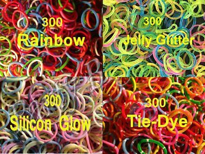 New1200 (4x300) Loom Band Rainbow+Jelly+Sillicon Glow+Tie Dye 48Clips & 4 Hooks