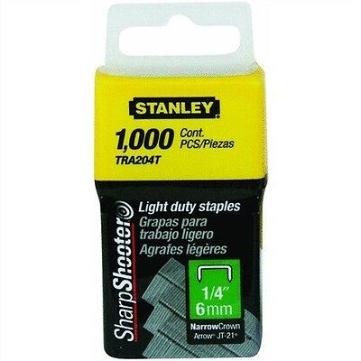 "Stanley Sharpshooter 1/4"" Narrow Crown Light Duty Staples TRA204T 1000 ct Pack"