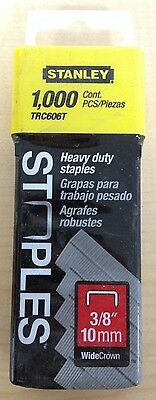 """Stanley 3/8"""" Heavy Duty Wide Crown Staples TRC606T 1000 ct Pack"""