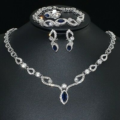 V461 S. Crystal 18K WGP Blue CZ Earring Bracelet Necklace Set Ring Size 8
