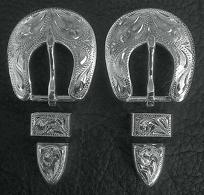"""2 - 1/2"""" Hand Engraved Silver Plated Buckle Sets - Spur Straps Headstall      #7"""