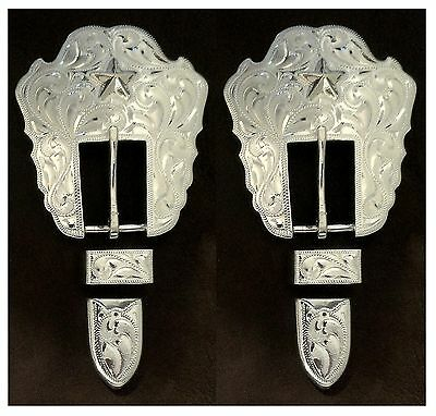 """2 --  5/8""""- 3/4"""" Hand Engraved Silver Headstall / Bridle Buckle Sets w/Stars"""