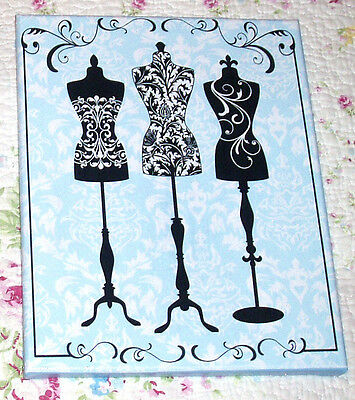 8x10 Sign, Shabby-Cottage-French-Vintage Decor-3 DRESSFORMS- YOUR COLOR CHOICE