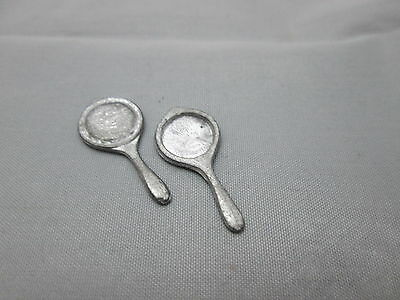 2 Dollhouse Miniature Unfinished metal hand Mirror #3