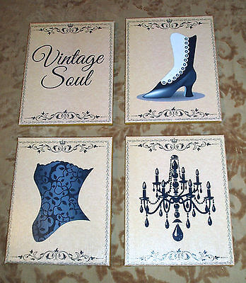 SET of 4 SIGNS-Shabby-Vintage Decor-YOUR CHOICE OF DESIGNS & COLORS-8x10 Canvas