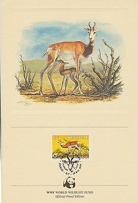 (EO51) 1986 WWF official proof card Gazele & Stamp