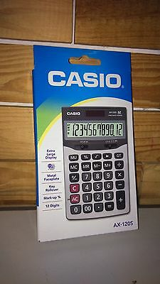 Casio AX-120S Multi Functional 12 Digital Calculator Dual Power Solar & Battery