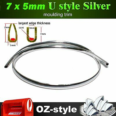 5M U Style Moulding Trim Chrome Silver Cars Grille Doors Edging Protector Strip