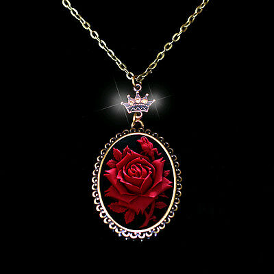 Brilliant Red Rose Big Size Detailed Cameo CZ Crown Pendant Necklace Handcraft