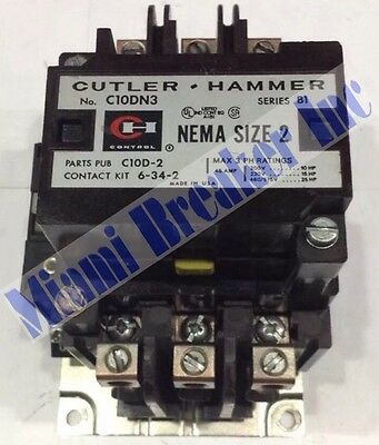 C10DN3 Cutler-Hammer Nema Size 2 Series B1 Contactor 3 Phase 45 Amp Coil 480V