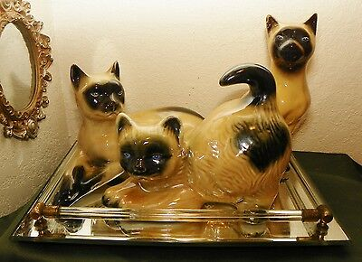 A Precious Trio of Porcelain Siamese Kittens Cats Set Figurines Made in Brazil
