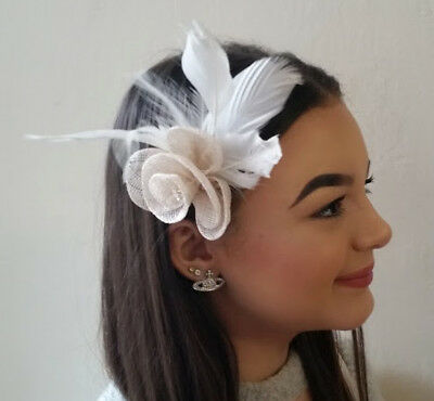 Feather Fascinator with Flower and Diamante Details on Hair Clip and Brooch Pin