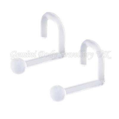 Pack of 2 Clear Flexible Bioflex Ball Nose Screw Retainers 18 Gauge (1.0mm )