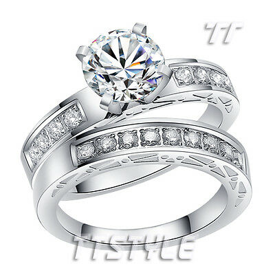 Quality High Polished TT Stainless Steel 2 Ct Engagement Wedding Band Ring Set