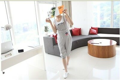 New Maternity Pants Trousers Overalls Dungarees Cropped Cotton Gray Blue 402