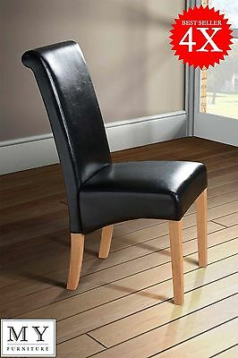 4 x MILANO ROLL / SCROLL BACK BLACK DINING CHAIR