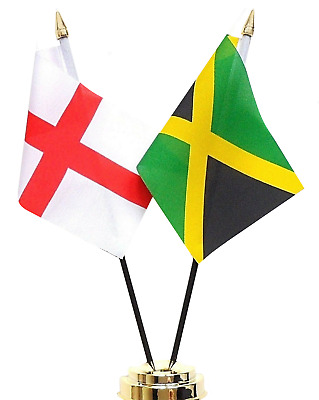 England & Jamaica Double Friendship Table Flag Set
