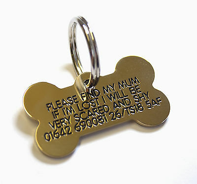 Deeply engraved solid brass dog tag, bone shaped 39mm.Up to 4 lines on each side