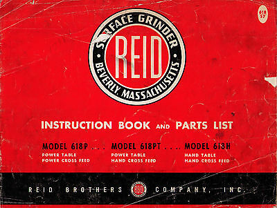 Reid Surface Grinder Instruction Book and Parts List Manual