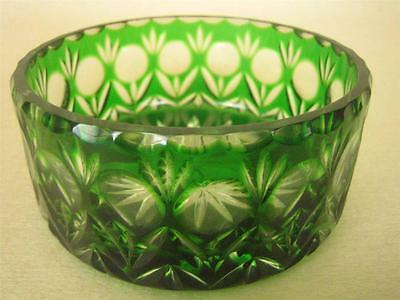 """VINTAGE Bohemian Cut to Clear Emerald Green Crystal 5"""" Bowl"""