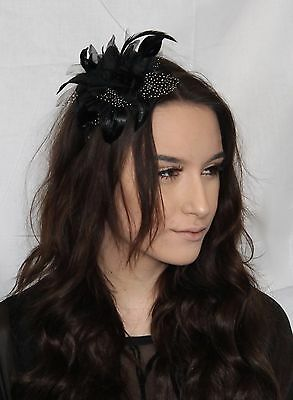 Hair band Black Lily flower with feather & white glitter Polka dot slim Headband