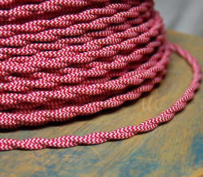 Cloth Covered Twisted Wire - Red/White Pattern, Vintage Style Fabric Lamp Cord
