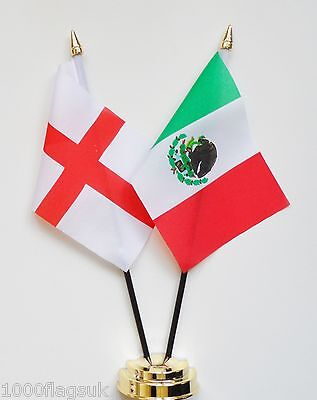 England & Mexico Double Friendship Table Flag Set