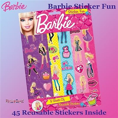 Barbie Sticker Fun - 5 Strips of Reusable Stickers